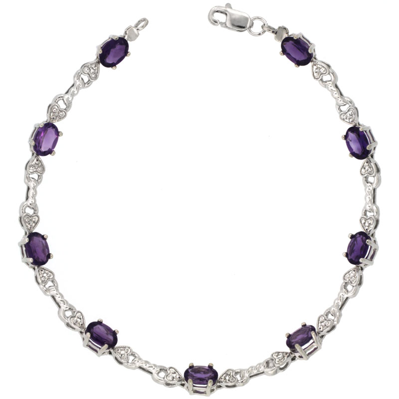 10k White Gold Braided Heart Tennis Bracelet 0.05 ct Diamonds & 4.50 ct Oval Amethyst, 3/16 inch wide