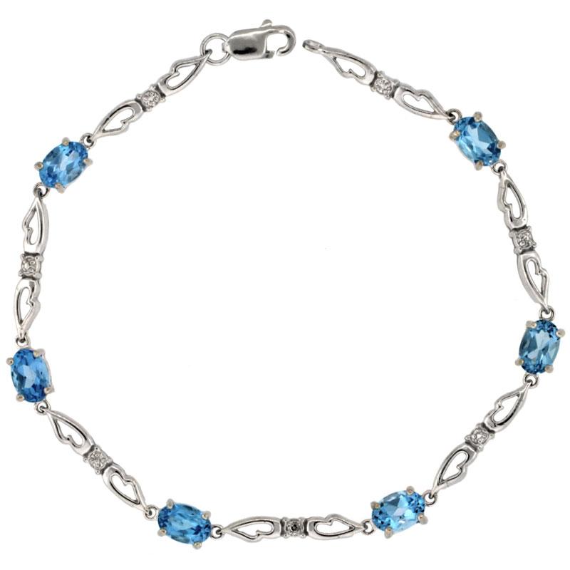 10k White Gold Double Fancy Heart Tennis Bracelet 0.05 ct Diamonds & 3.0 ct Oval Blue Topaz, 3/16 inch wide