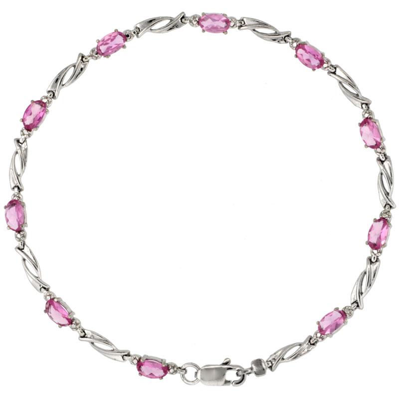 10k White Gold Swirl Tennis Bracelet 0.05 ct Diamonds & 2.50 ct Oval Pink Topaz, 1/8 inch wide