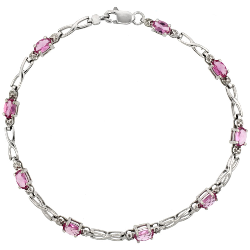 10k White Gold XOXO Hugs & Kisses Tennis Bracelet 0.05 ct Diamonds & 2.25 ct Oval Pink Topaz, 1/8 inch wide