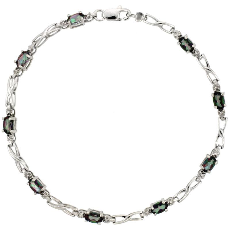 10k White Gold XOXO Hugs & Kisses Tennis Bracelet 0.05 ct Diamonds & 2.25 ct Oval Mystic Topaz, 1/8 inch wide