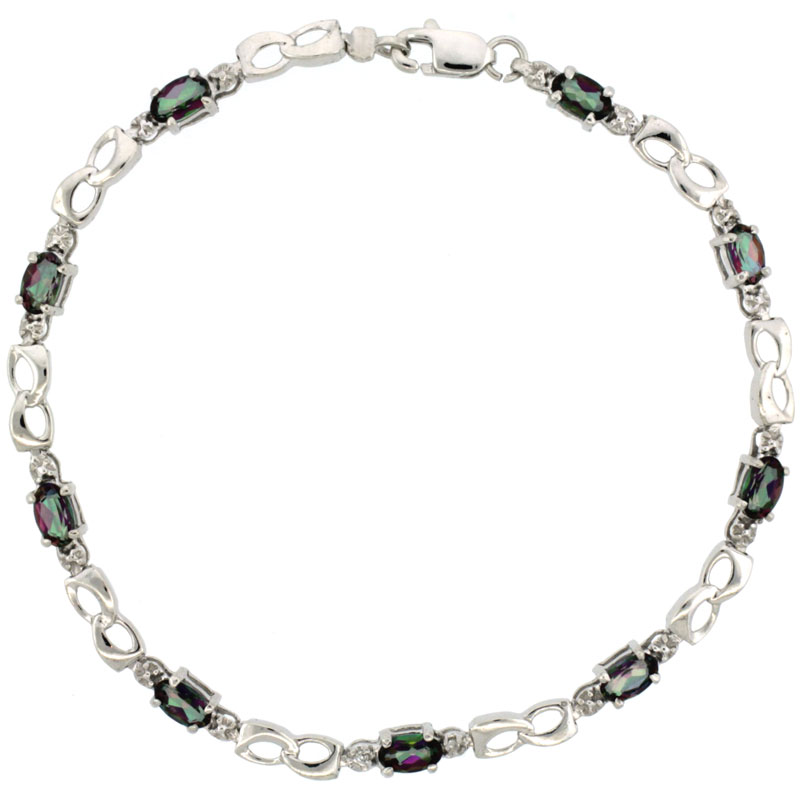 10k White Gold Double Loop Tennis Bracelet 0.05 ct Diamonds & 2.25 ct Oval Mystic Topaz, 1/8 inch wide