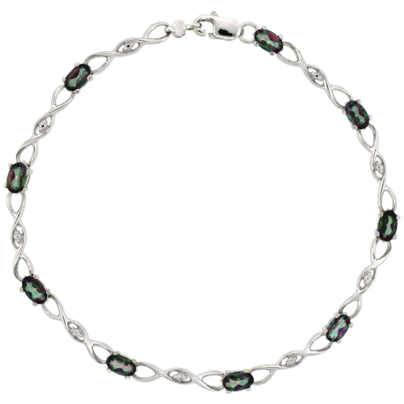 10k White Gold Braided Loop Tennis Bracelet 0.05 ct Diamonds & 2.25 ct Oval Mystic Topaz, 1/8 inch wide