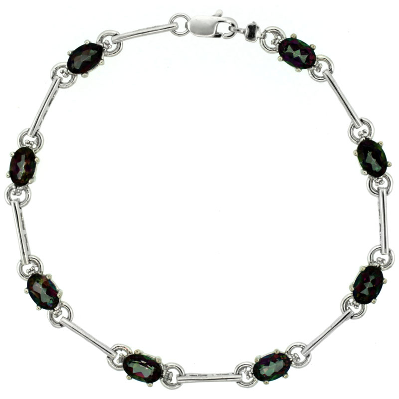 10k White Gold Dash Bar Tennis Bracelet 0.05 ct Diamonds & 4.0 ct Oval Mystic Topaz, 3/16 inch wide