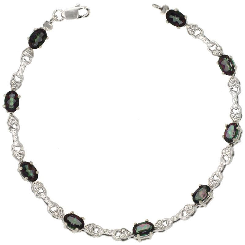 10k White Gold Braided Heart Tennis Bracelet 0.05 ct Diamonds & 4.50 ct Oval Mystic Topaz, 3/16 inch wide