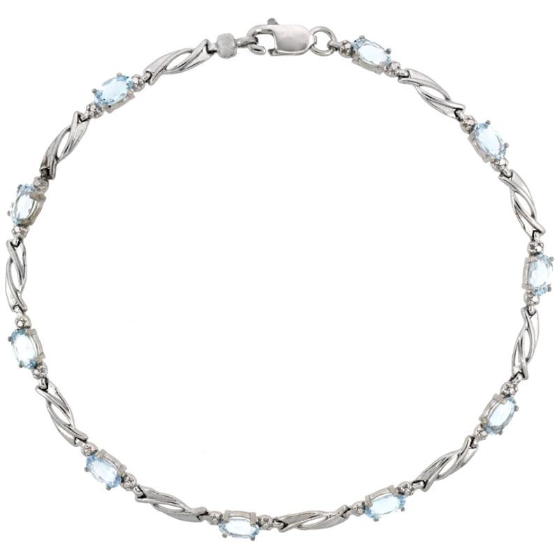 10k White Gold Swirl Tennis Bracelet 0.05 ct Diamonds & 2.50 ct Oval Aquamarine, 1/8 inch wide