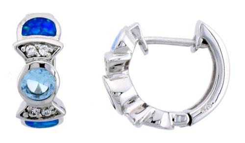 Sterling Silver Huggie Earrings w/ Synthetic Opal inlay & Aqua Cubic Zirconia , 5/8 inch