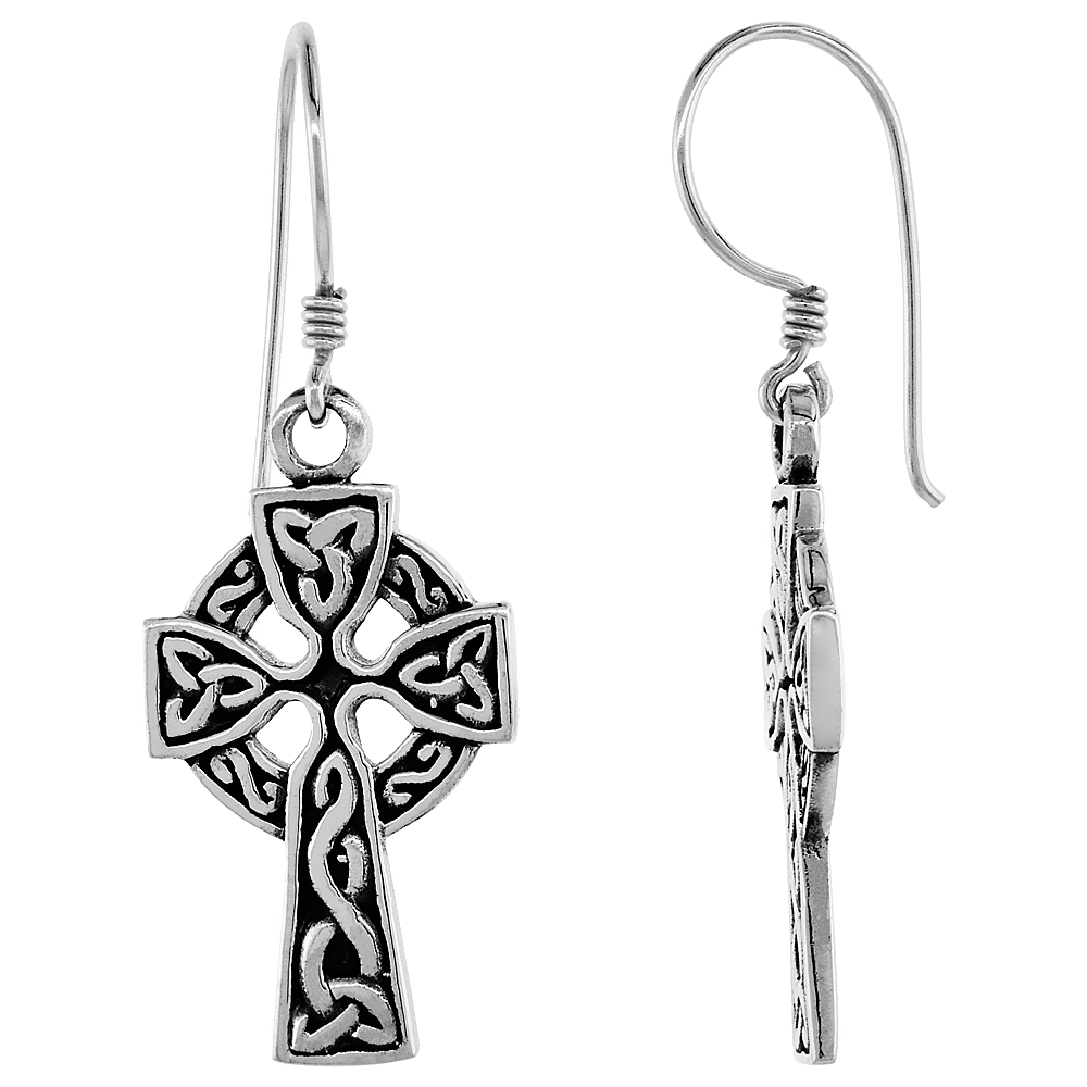 Sterling Silver Celtic Cross Earrings Triquetra Pattern,1 inch long