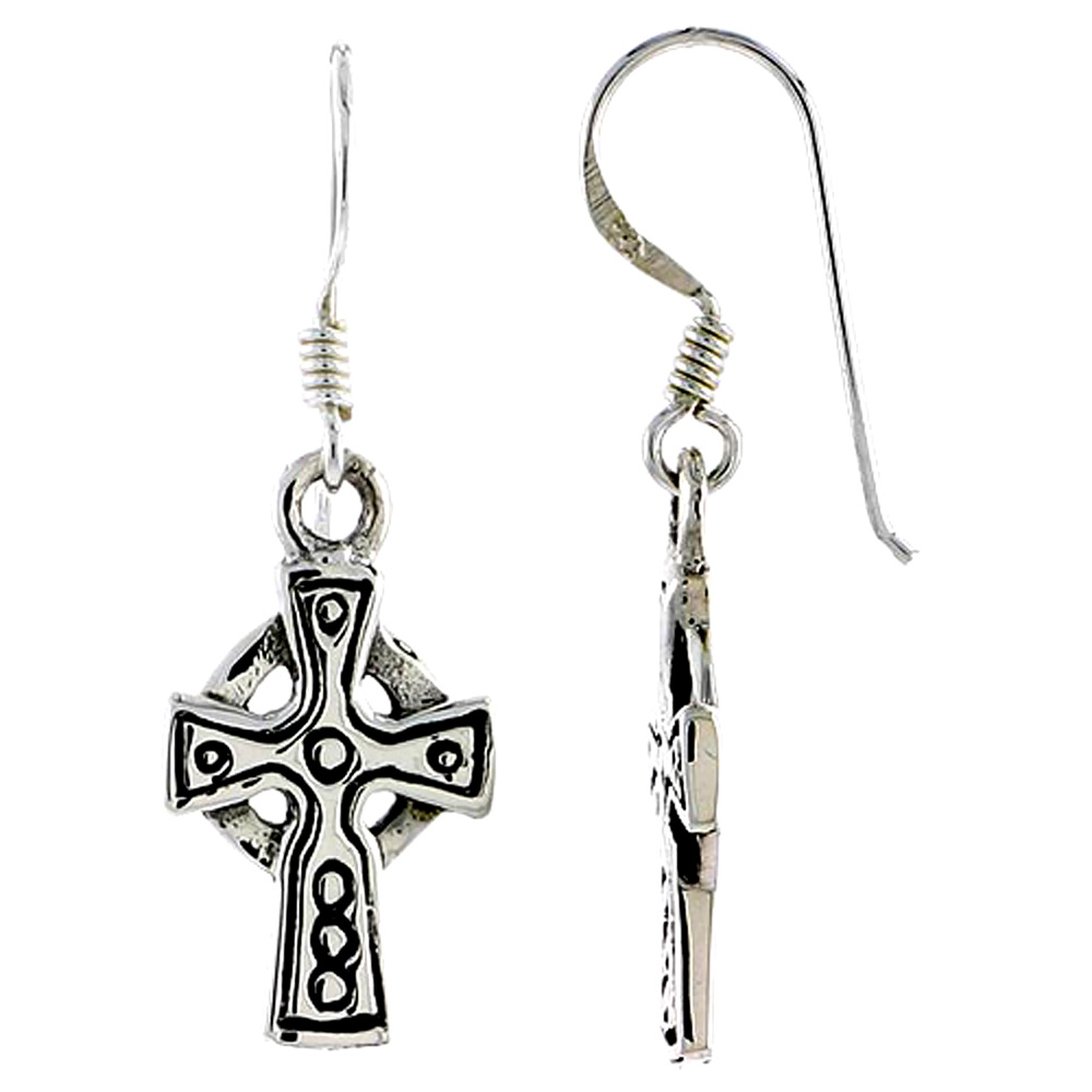 Sterling Silver Celtic Healing Cross Earrings, 3/4 inch long