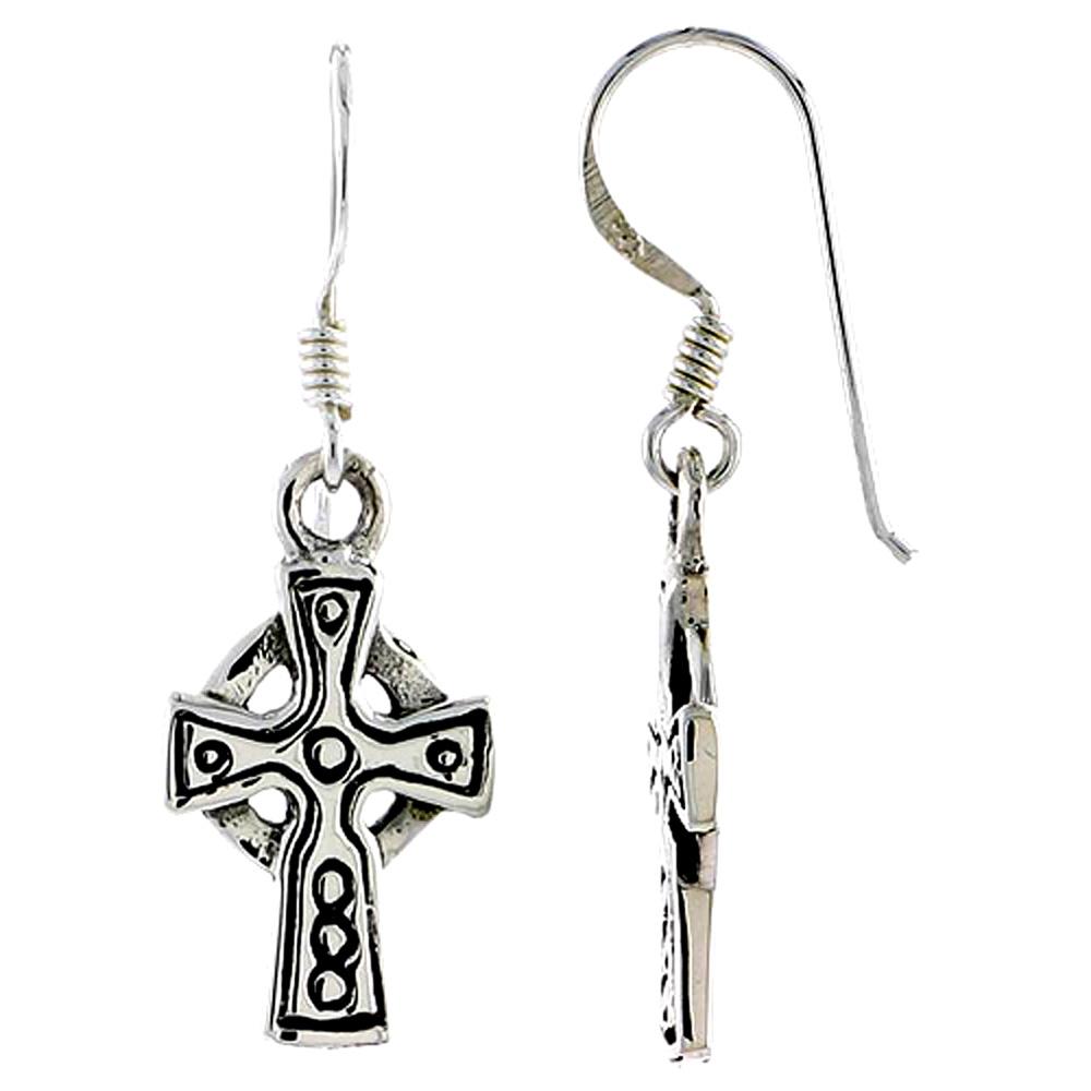 Sterling Silver Celtic Healing Cross Earrings, 3/4 inch long