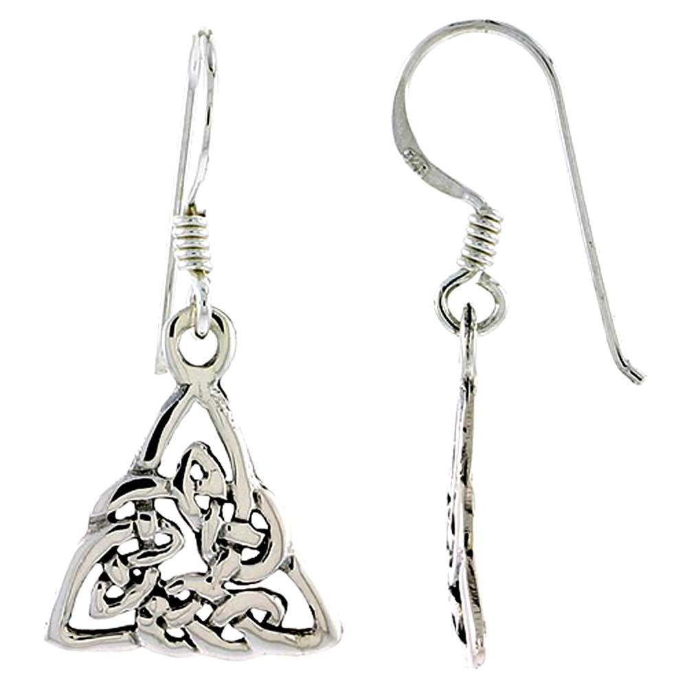 Sterling Silver Celtic Triquetra Trinity Knot Earrings, 5/8 inch long