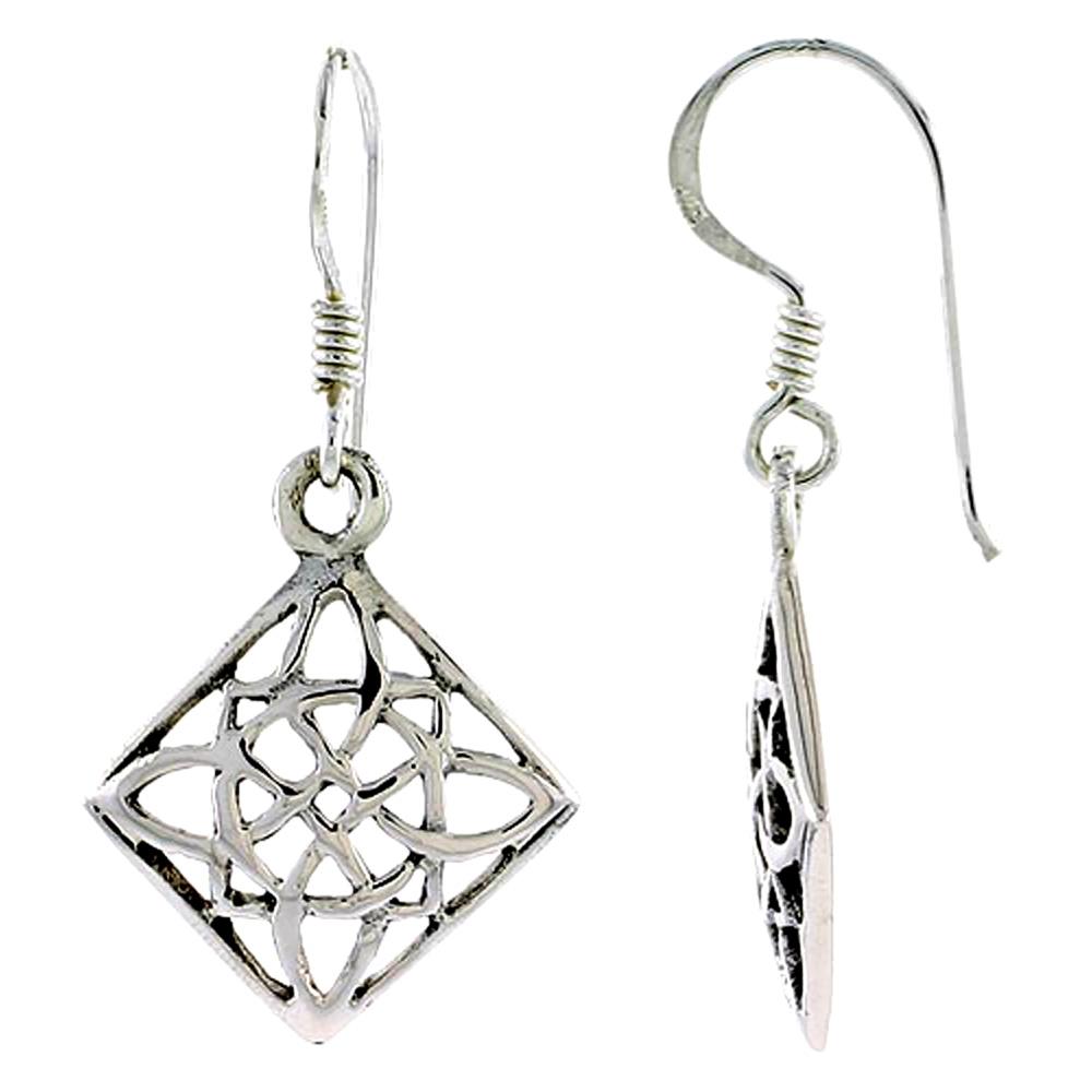 Sterling Silver Celtic Earrings, 3/4 inch long