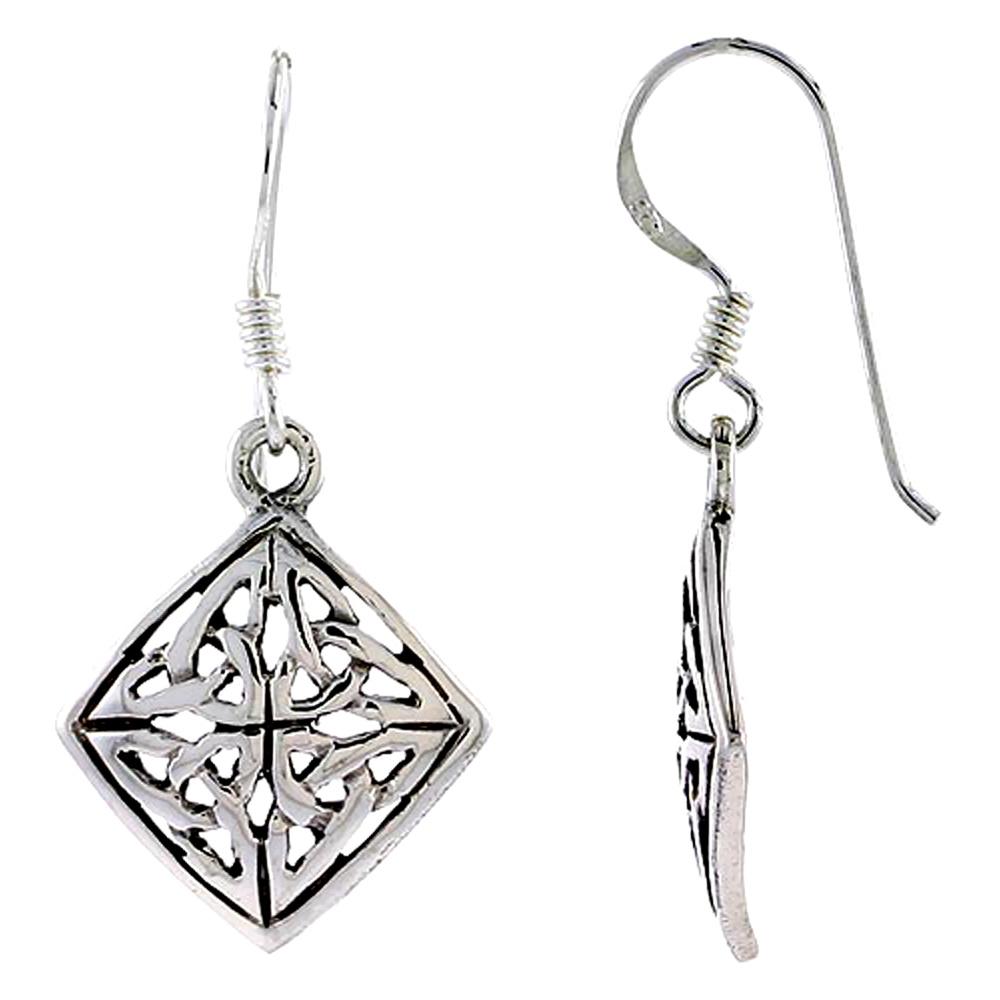 Sterling Silver Celtic Quaternary Knot Earrings, 3/4 inch long