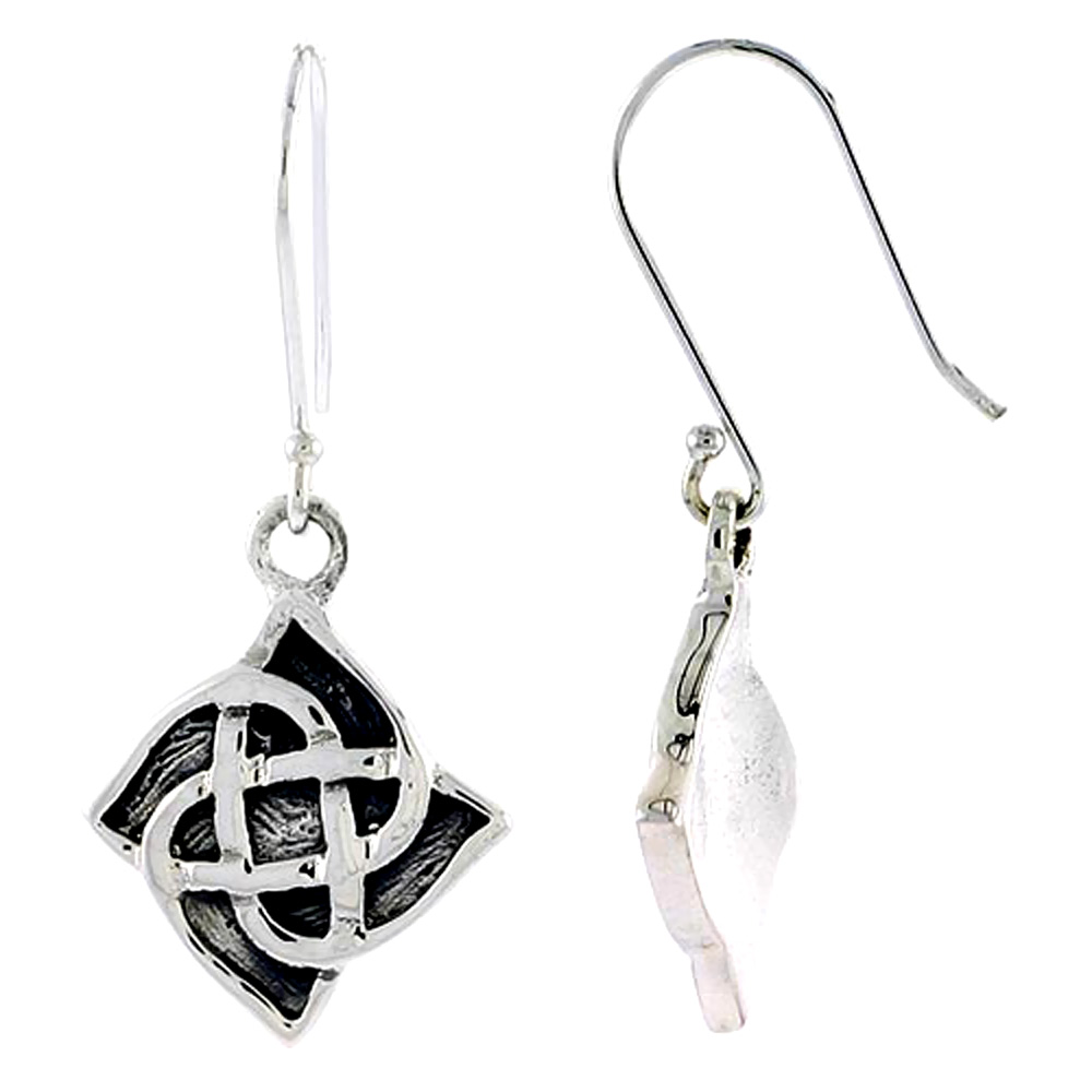 Sterling Silver Celtic Quaternary Knot Earrings, 3/4 inch long
