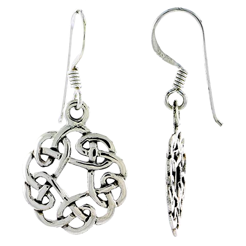Sterling Silver Celtic Circular Knot Earrings, 3/4 inch long