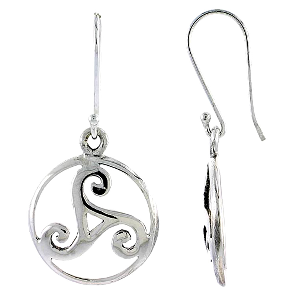 Sterling Silver Celtic Triskele Earrings, 3/4 inch long