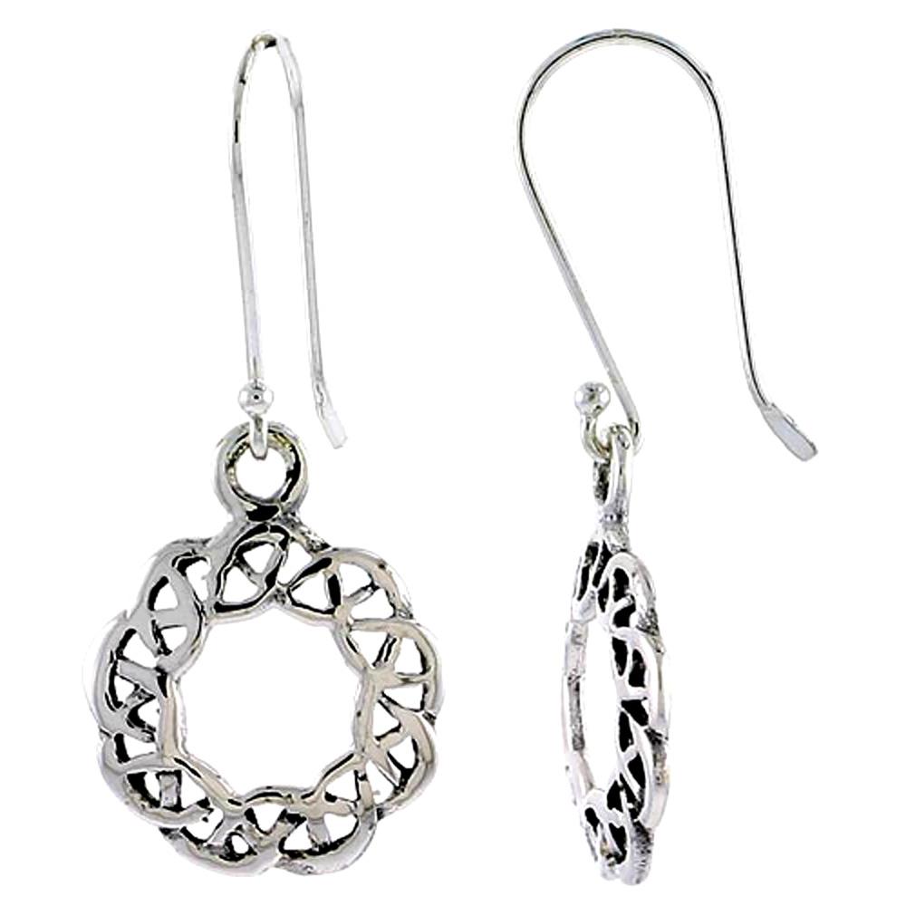 Sterling Silver Celtic Circular Knot Earrings, 5/8 inch long