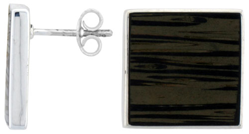 "Sterling Silver Square Post Earrings, w/ Ancient Wood Inlay, 5/8"" (16 mm) tall"