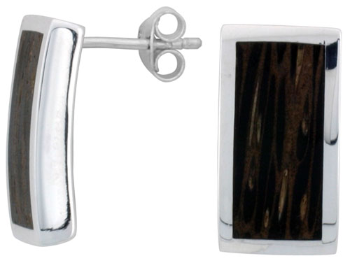 "Sterling Silver Rectangular Post Earrings, w/ Ancient Wood Inlay, 11/16"" (18 mm) tall"