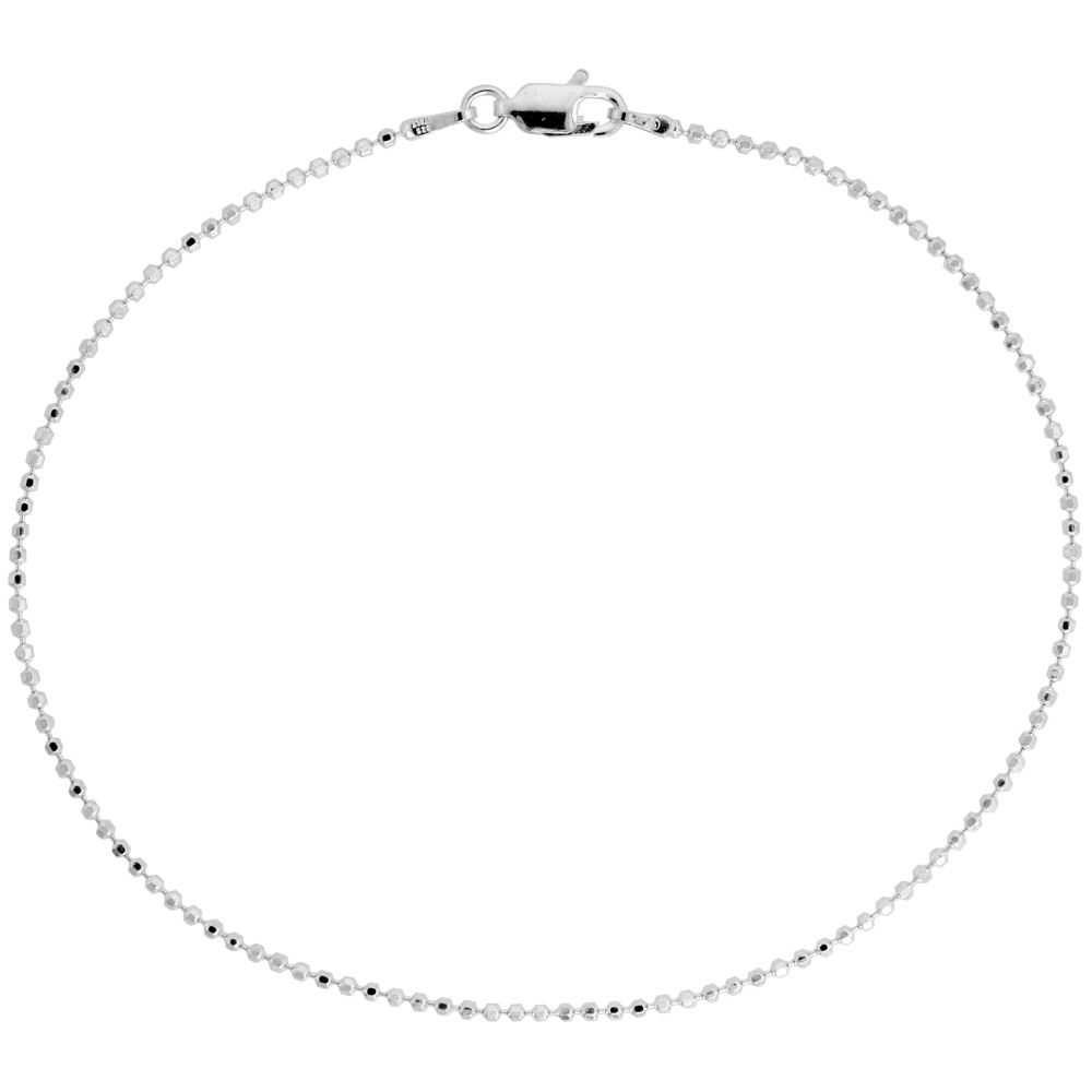 Sterling Silver Italian Faceted Pallini Bead Ball Chain Anklet 1.5mm Nickel Free, Sizes 9 - 10 inch
