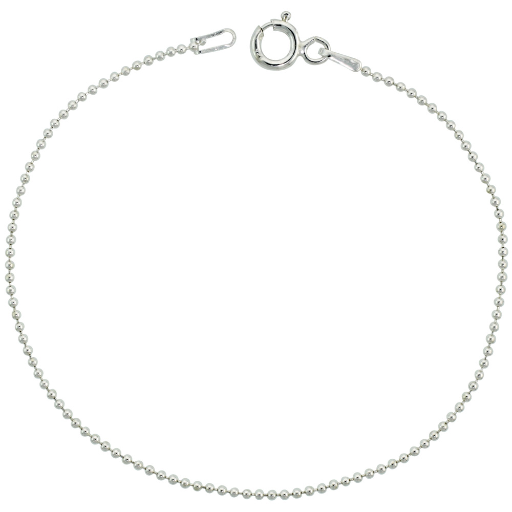 Sterling Silver Thin Pallini Bead Ball Chain Necklaces & Bracelets 1.2mm Nickel Free Italy, 7-30 inch