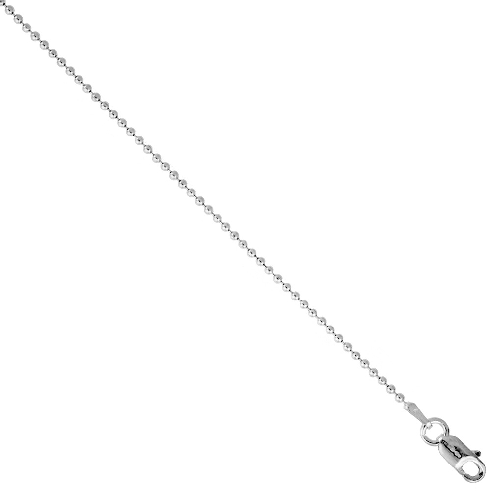 Sterling Silver Pallini Bead Ball Chain Necklaces & Bracelets 1.5mm Thin Nickel Free Italy, 7-30 inch