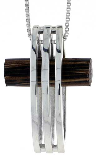 "Sterling Silver Cross w/ Stripe Cut Out Slider Pendant, w/ Ancient Wood Inlay, 1 3/16"" (30 mm) tall, w/ 18"" Thin Snake Chain"