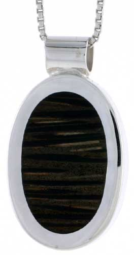 "Sterling Silver Oval Slider Pendant, w/ Ancient Wood Inlay, 15/16"" (24 mm) tall, w/ 18"" Thin Snake Chain"