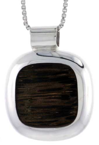 "Sterling Silver Cushion-shaped Slider Pendant, w/ Ancient Wood Inlay, 3/4"" (20 mm) tall, w/ 18"" Thin Snake Chain"