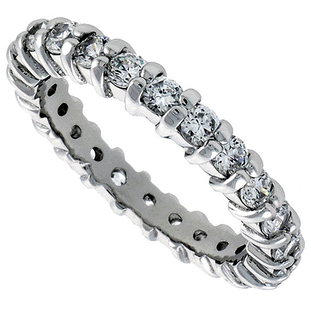 Sterling Silver Cubic Zirconia Eternity Ring 2.5mm Round Rhodium finish, sizes 6 - 9