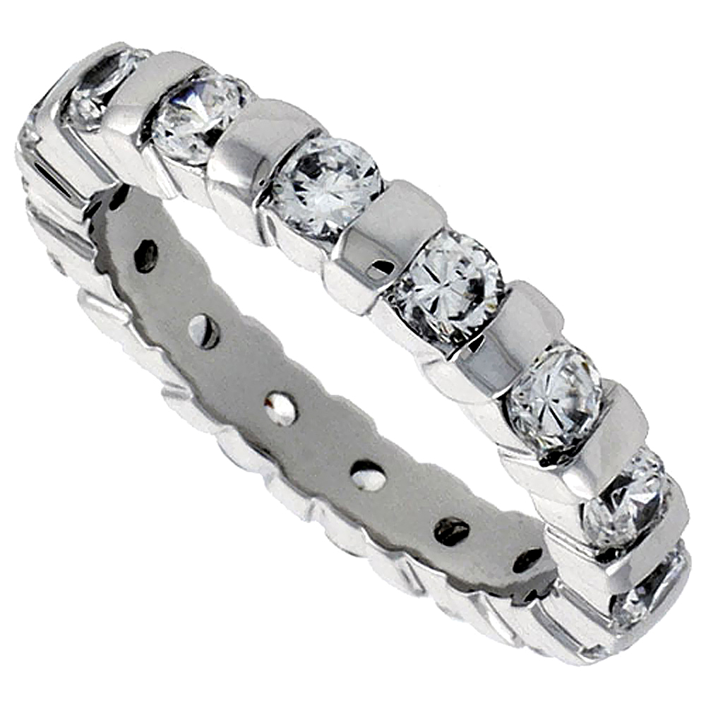 Sterling Silver Cubic Zirconia Eternity Ring 3mm Round Rhodium finish, sizes 6 - 9