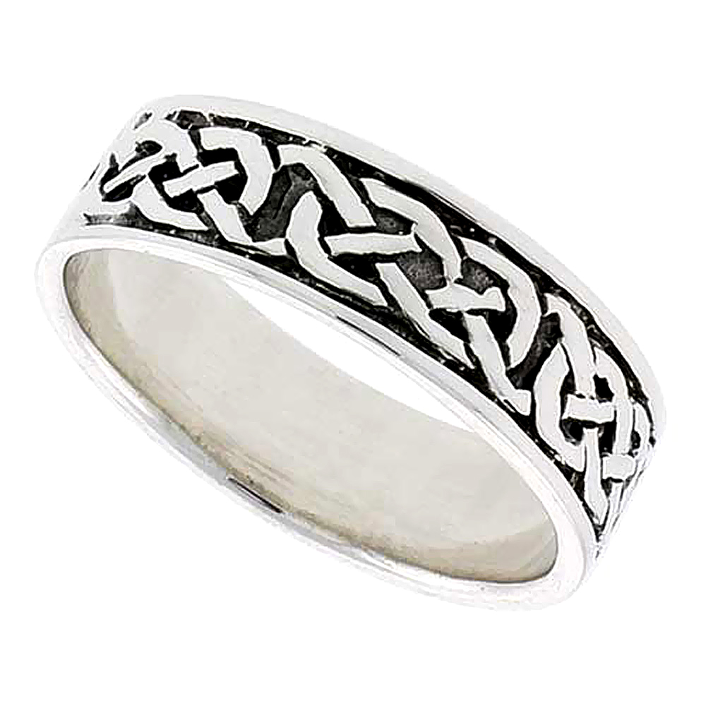 Sterling Silver Celtic Knot Ring Wedding Band Thumb Ring 1/4 inch wide, sizes 9-14