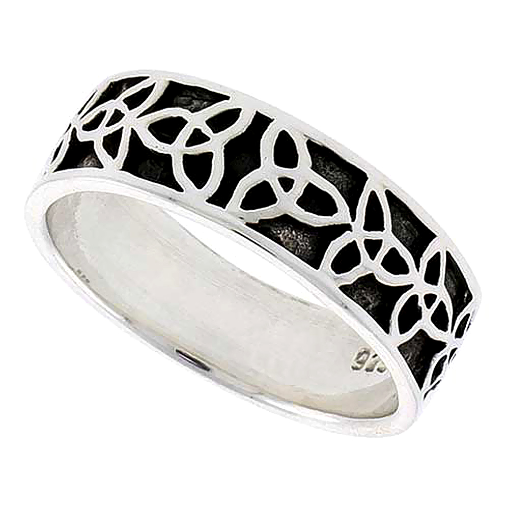 Sterling Silver Celtic Trinity Knot Triquetra Ring Wedding Band Thumb Ring 1/4 inch wide, sizes 9-14