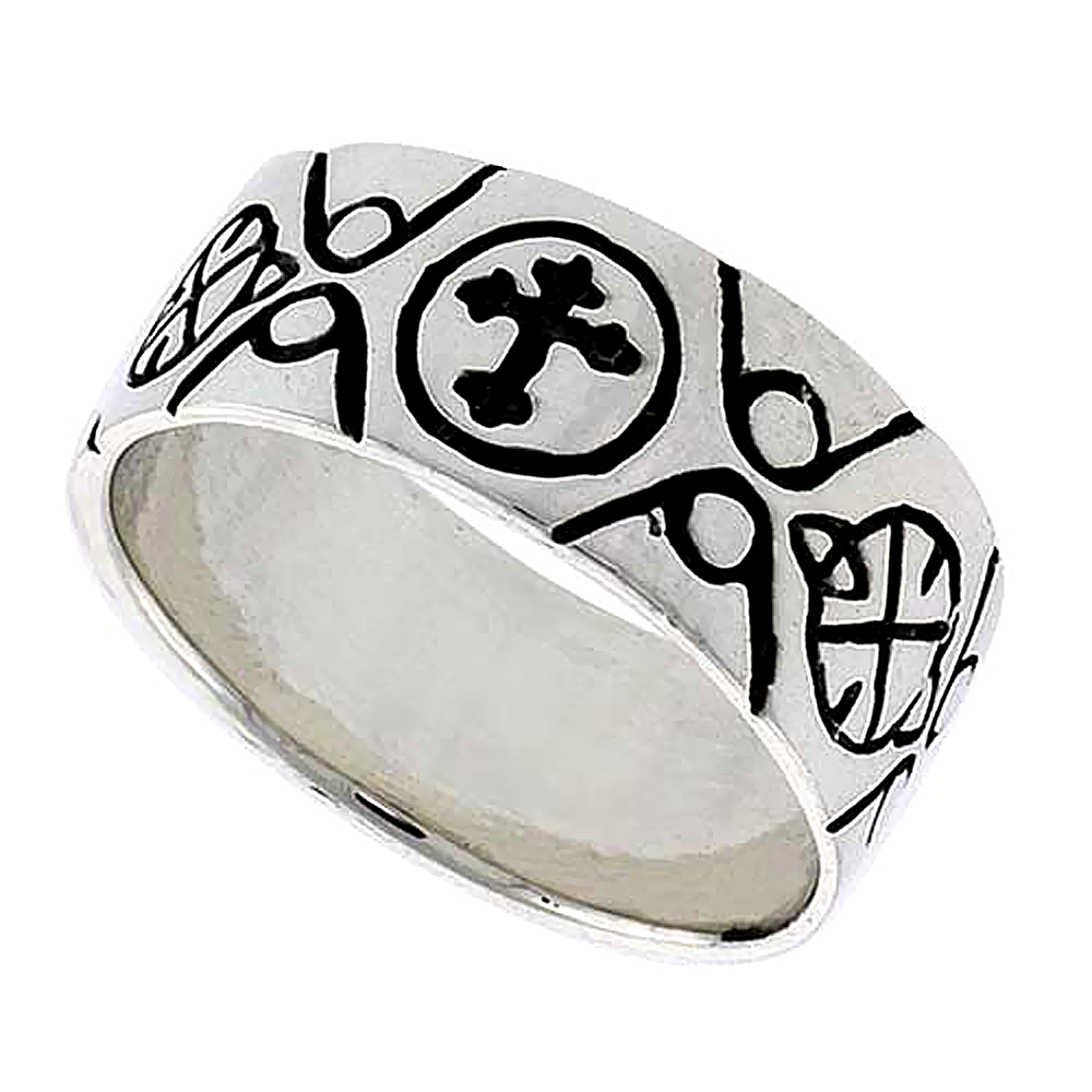 Sterling Silver Celtic Cross Fleury Ring flat 3/8 inch wide, sizes 9-14
