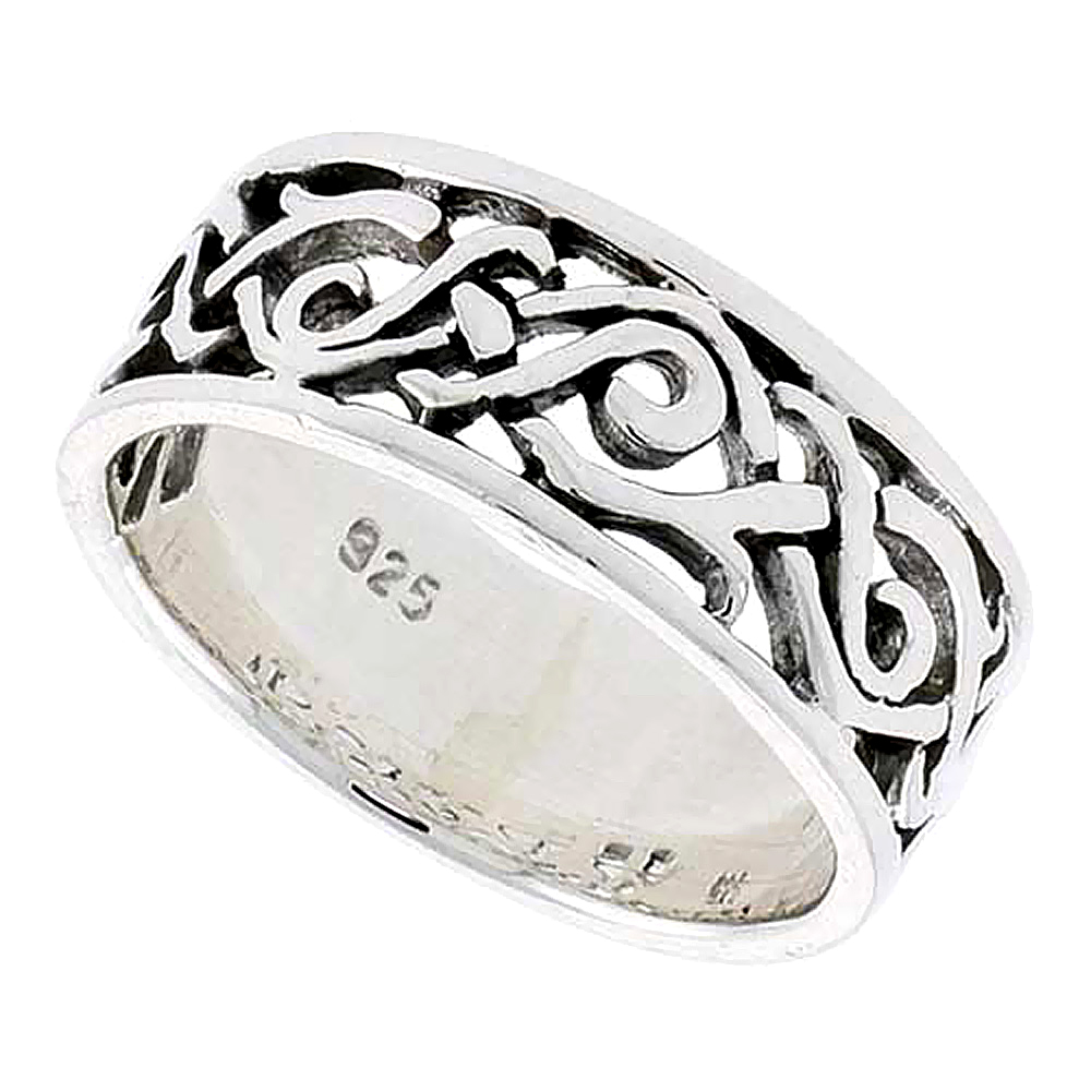 Sterling Silver Celtic Swirl Braid Ring flat 5/16 inch wide, sizes 9-14