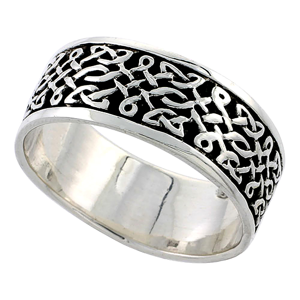 Sterling Silver Celtic Knot Ring flat Wedding Band Thumb Ring 5/16 inch wide, sizes 9-14