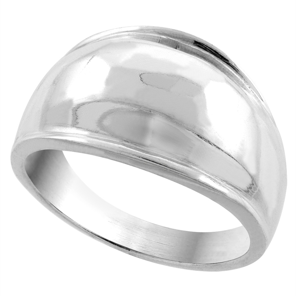 Sterling Silver Dome Cigar Band Ring 5/16 inch wide, sizes 5 - 13