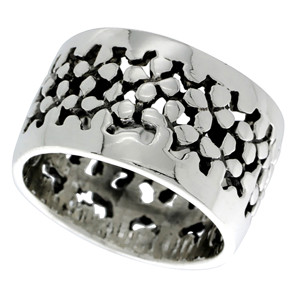 Sterling Silver Pebbles Ring 5/8 inch wide, sizes 6 - 11