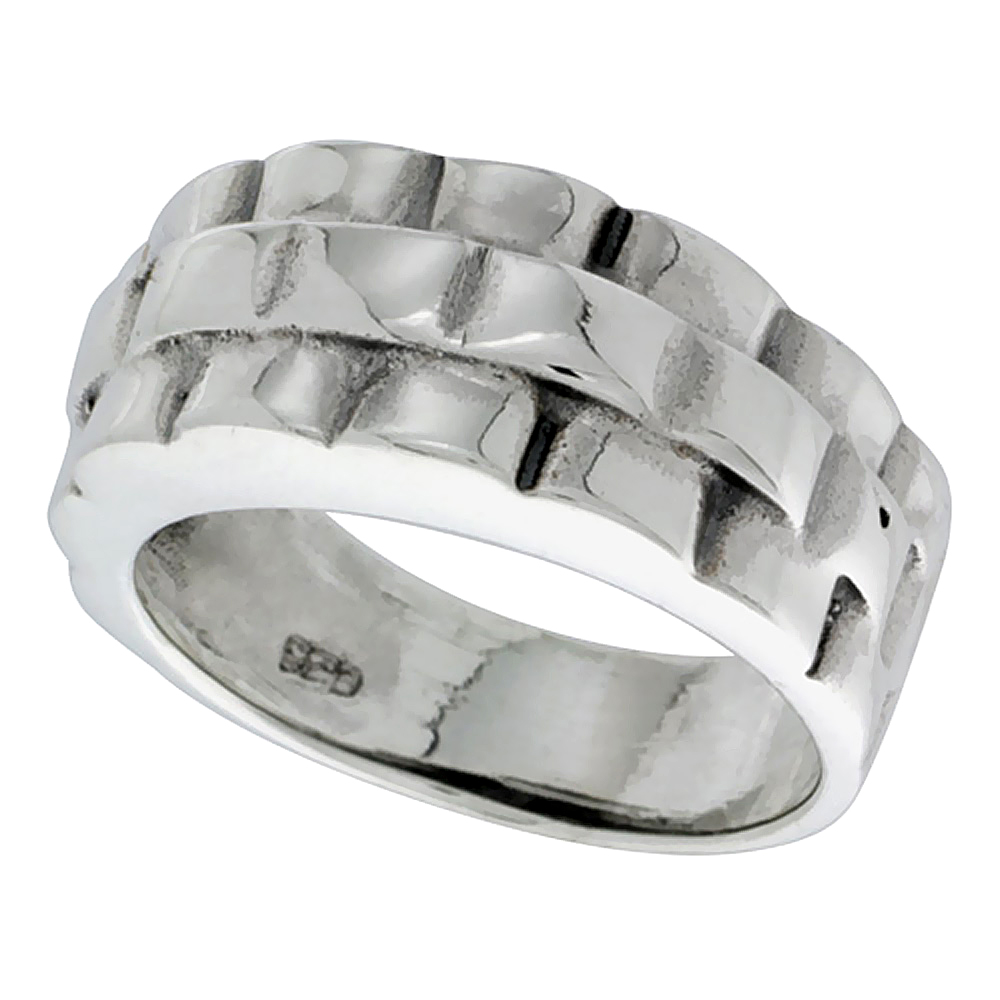 Sterling Silver Basket Weave Ring 3/8 inch wide, sizes 6 - 14