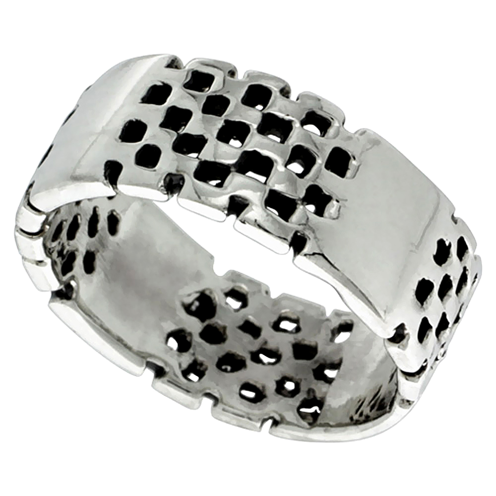 Sterling Silver Checkerboard Ring 5/16 inch wide, sizes 5 - 13