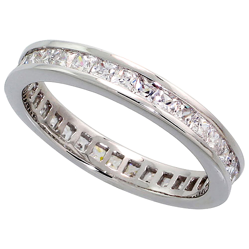 Sterling Silver Cubic Zirconia Eternity Ring Princess cut 2mm Rhodium finish, sizes 6 - 9