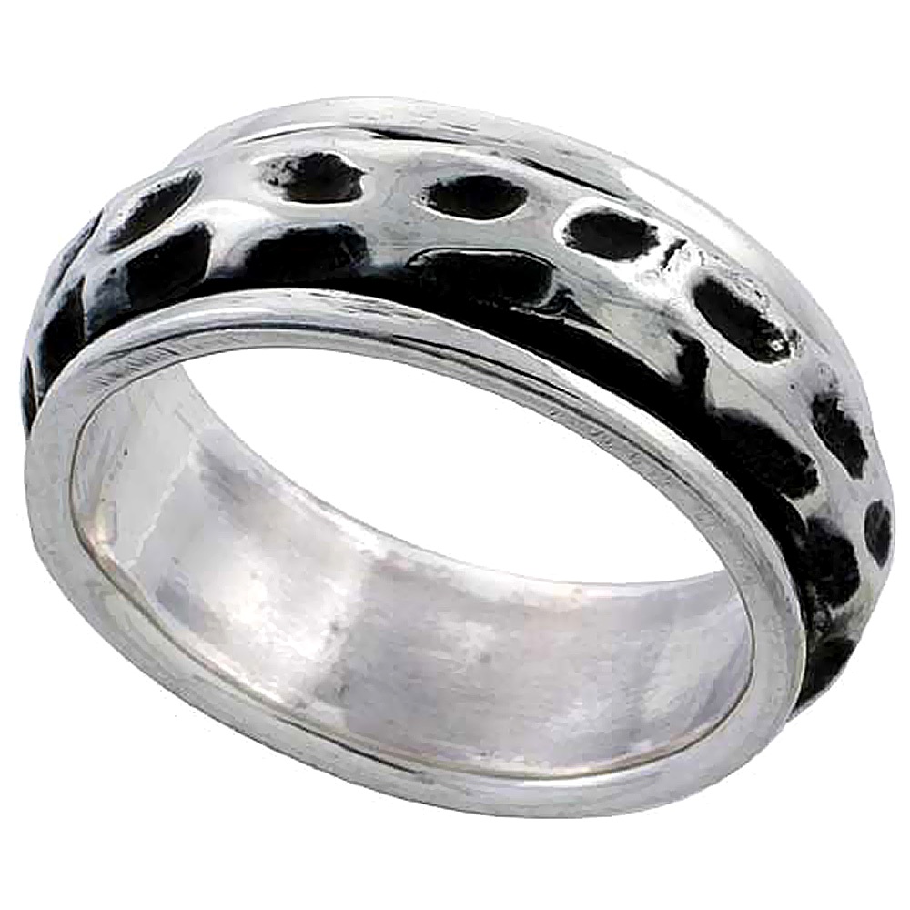 Sterling Silver Freeform Design Spinner Ring 5/16 inch wide