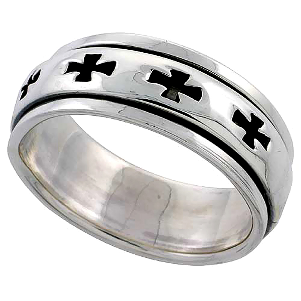 Sterling Silver Cross Spinner Ring 3/8 inch wide