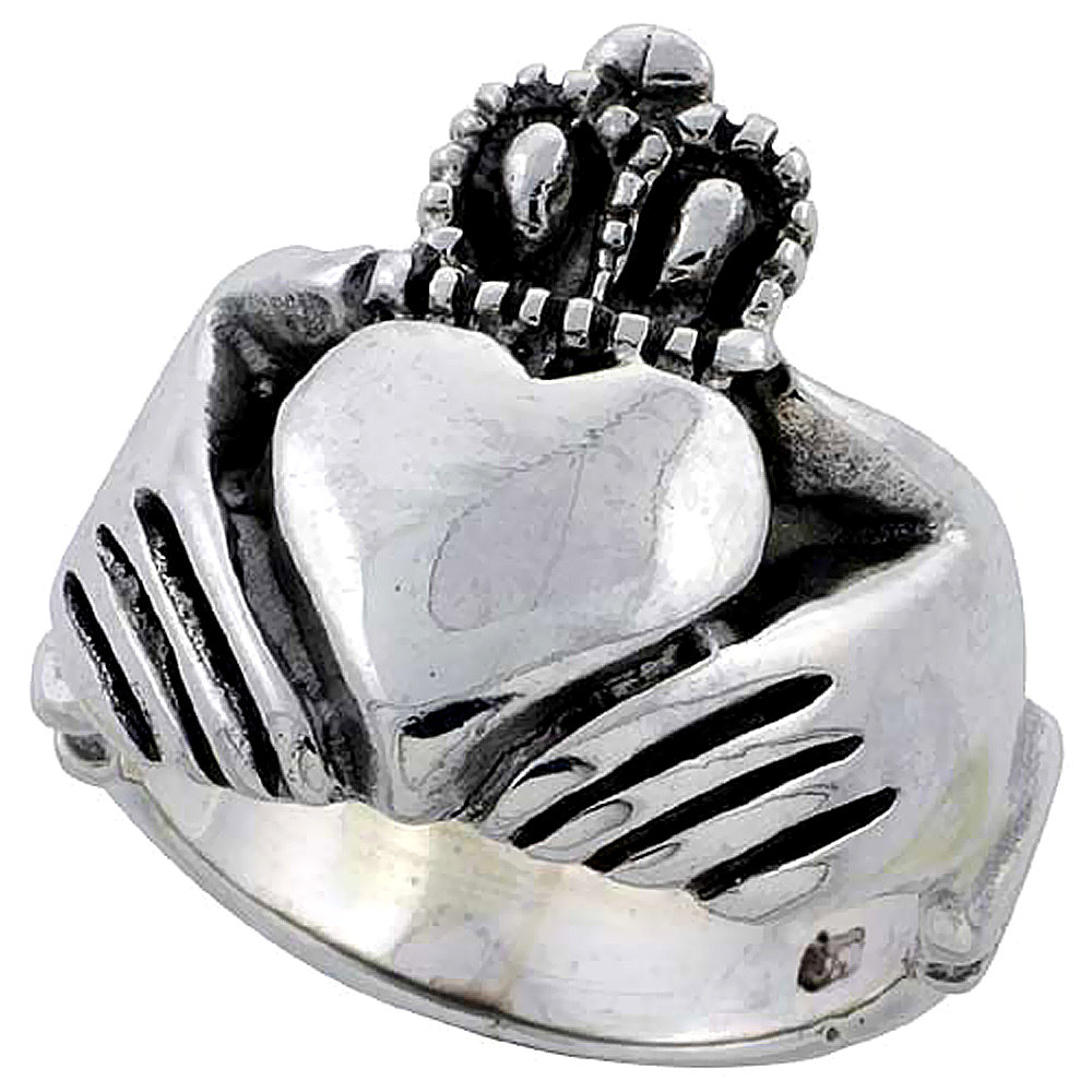 Sterling Silver Claddagh Ring Large 3/4 inch wide, sizes 6 to 15