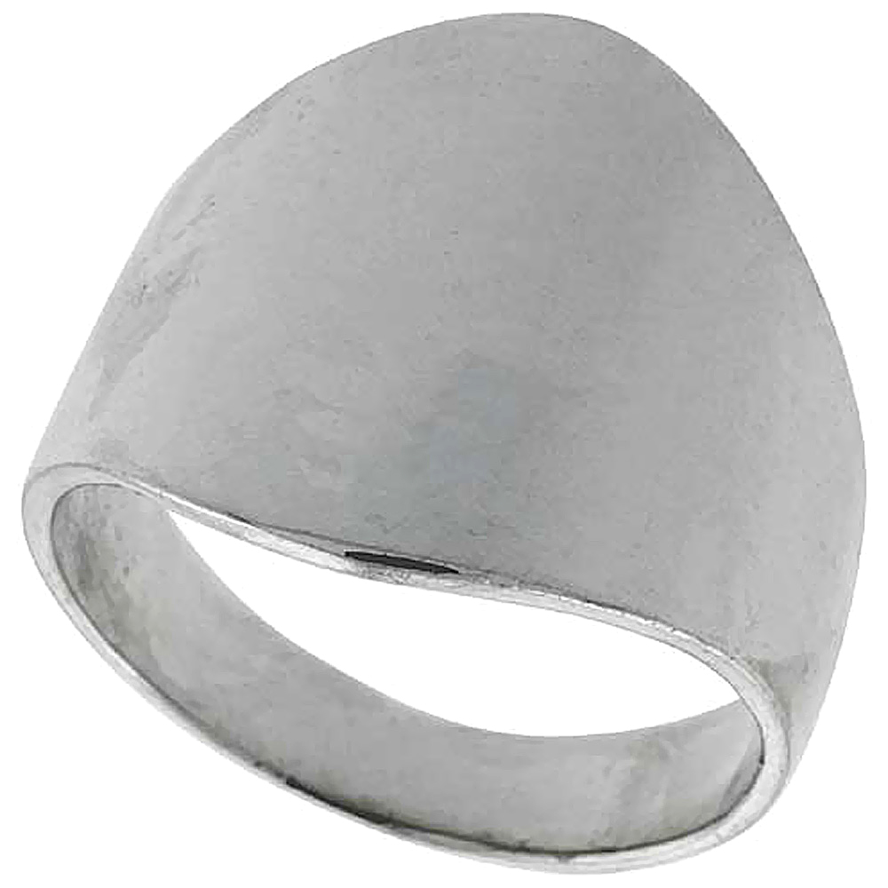 Sterling Silver Classic Cigar Band Ring 3/4 inch long, sizes 5 to 12