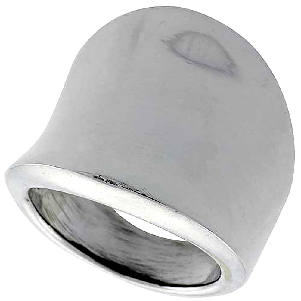 Sterling Silver Concave Cigar Band Ring 7/8 inch long, sizes 5 to 12