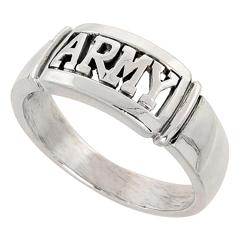 Sterling Silver US ARMY Ring 3/8 inch wide