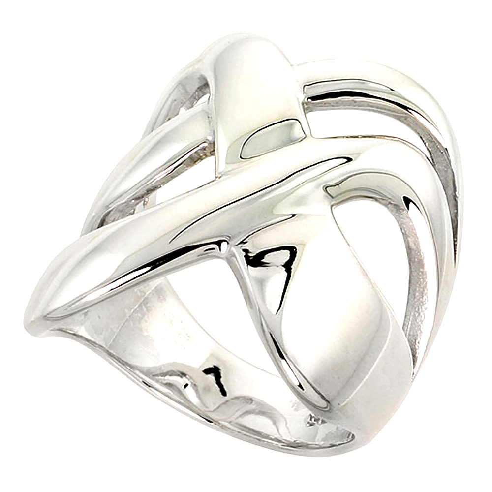 Sterling Silver Crisscross Ring Flawless finish 1 inch wide, sizes 6 - 10