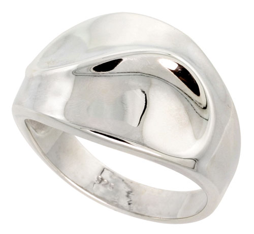Sterling Silver Cigar Band Ring w/ Swirl Flawless finish 5/8 inch wide, sizes 6 - 10