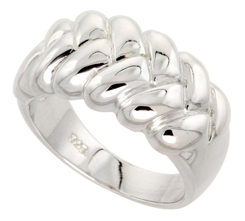 Sterling Silver Braided Dome Ring Flawless finish 1/2 inch wide, sizes 6 - 10